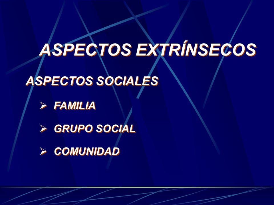 ASPECTOS EXTRÍNSECOS ASPECTOS SOCIALES FAMILIA GRUPO SOCIAL COMUNIDAD ASPECTOS EXTRÍNSECOS ASPECTOS SOCIALES FAMILIA GRUPO SOCIAL COMUNIDAD