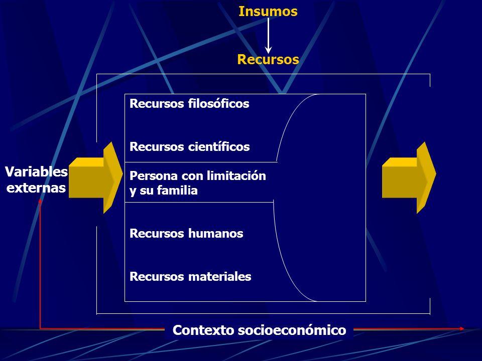 Variables externas Recursos filosóficos Recursos científicos Persona con limitación y su familia Recursos humanos Recursos materiales Insumos Recursos Contexto socioeconómico