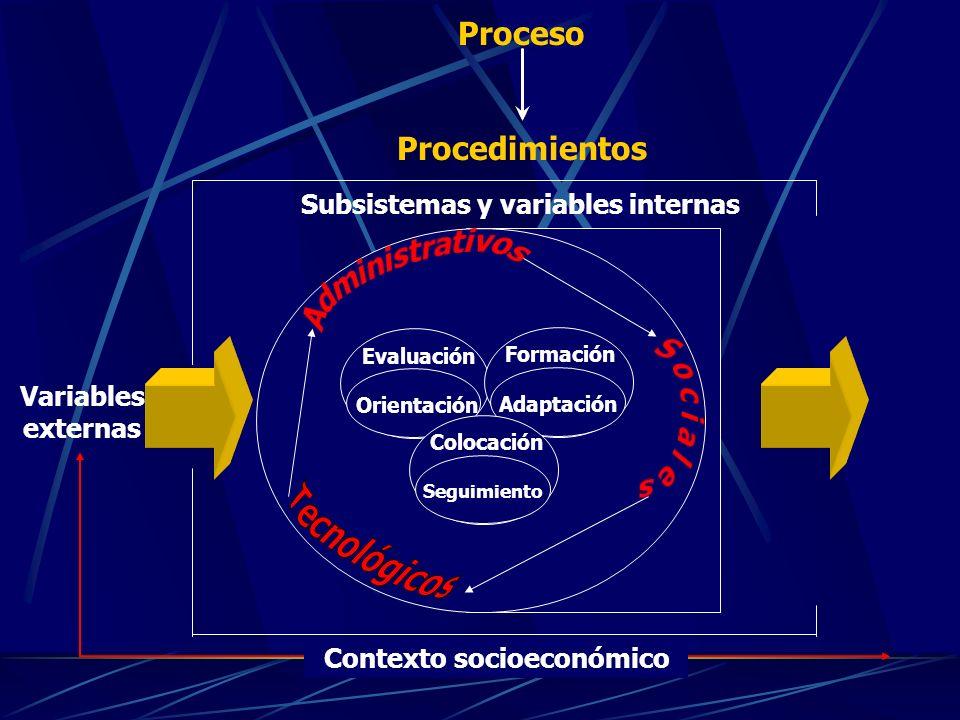 Evaluación Orientación Formación Adaptación Colocación Seguimiento Contexto socioeconómico Subsistemas y variables internas Proceso Procedimientos Variables externas