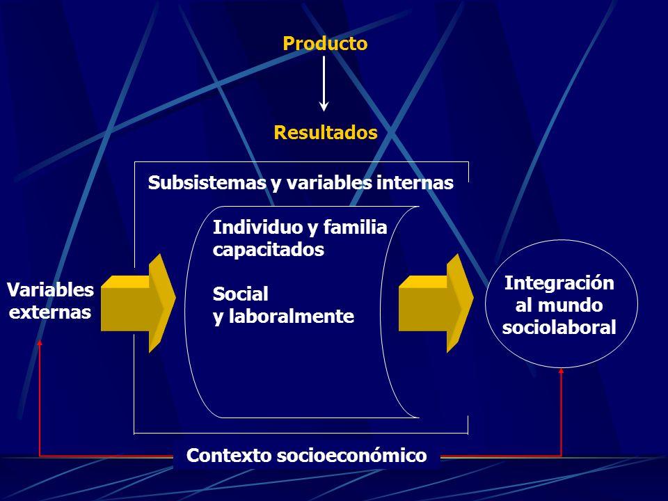 Individuo y familia capacitados Social y laboralmente Integración al mundo sociolaboral Contexto socioeconómico Producto Resultados Variables externas