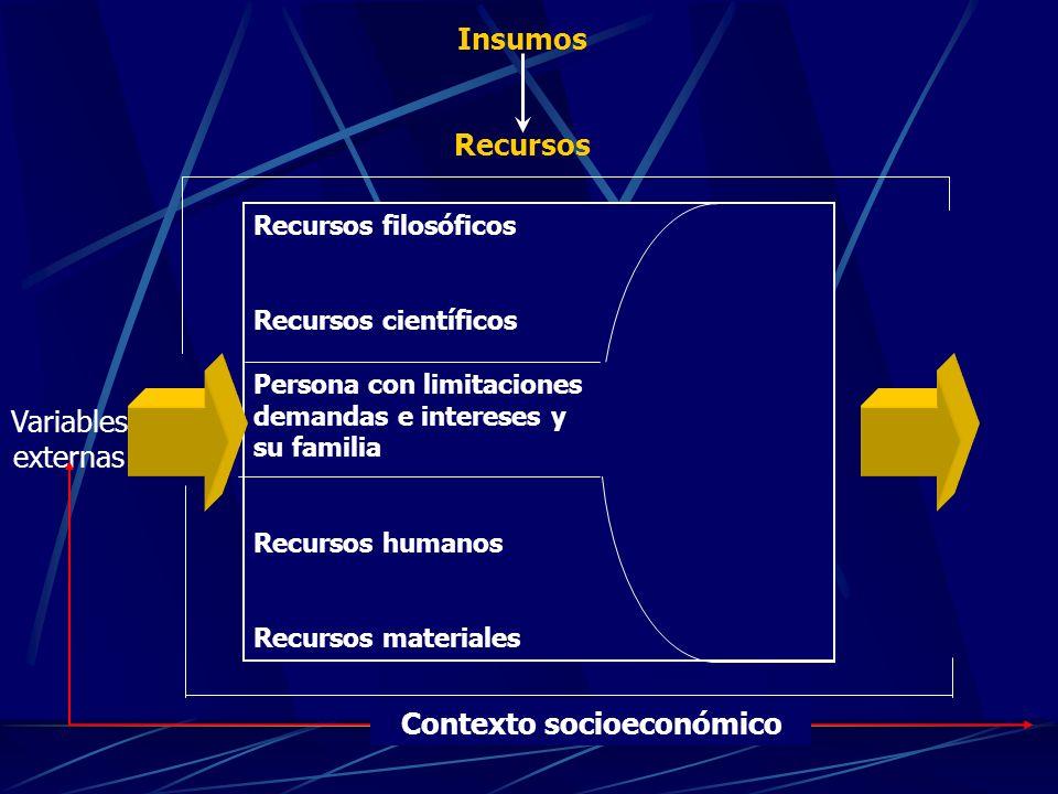 Variables externas Recursos filosóficos Recursos científicos Persona con limitaciones demandas e intereses y su familia Recursos humanos Recursos materiales Contexto socioeconómico Insumos Recursos