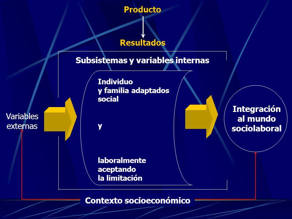 Individuo y familia adaptados social y laboralmente aceptando la limitación Integración al mundo sociolaboral Contexto socioeconómico Subsistemas y variables internas Producto Resultados Variables externas