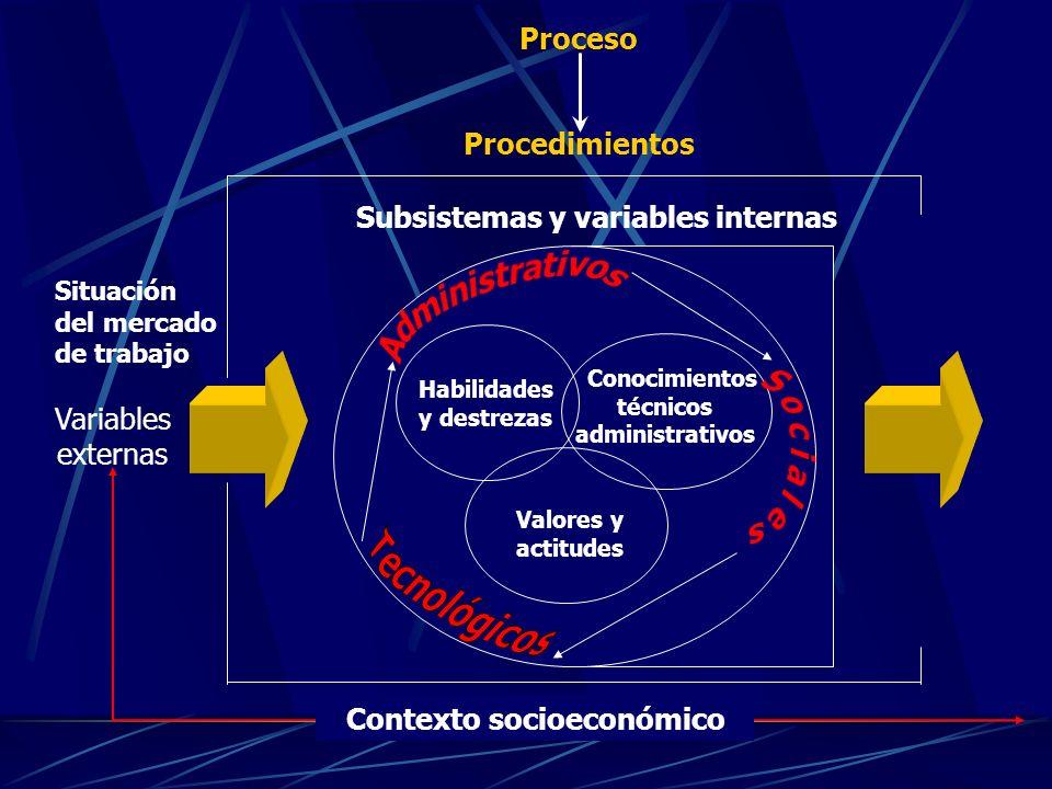 Habilidades y destrezas Conocimientos técnicos administrativos Valores y actitudes Contexto socioeconómico Subsistemas y variables internas Proceso Procedimientos Variables externas Situación del mercado de trabajo