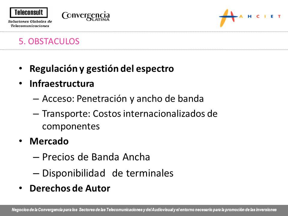 Negocios de la Convergencia para los Sectores de las Telecomunicaciones y del Audiovisual y el entorno necesario para la promoción de las inversiones 5.