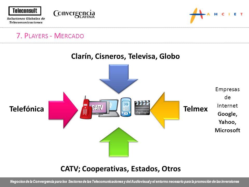 Negocios de la Convergencia para los Sectores de las Telecomunicaciones y del Audiovisual y el entorno necesario para la promoción de las inversiones 7.