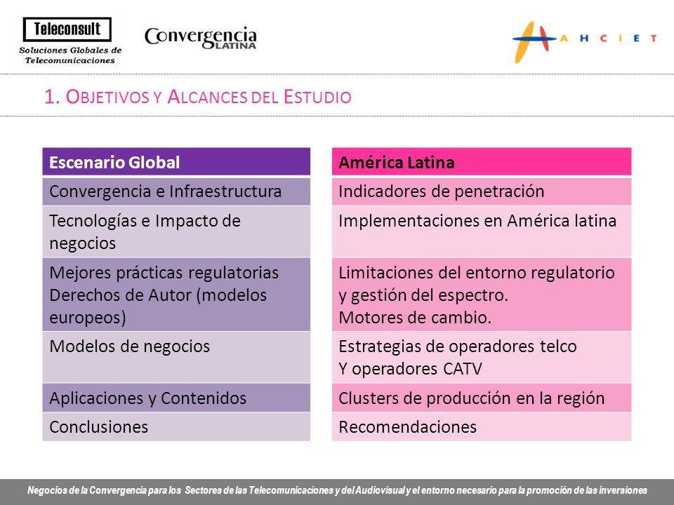 Negocios de la Convergencia para los Sectores de las Telecomunicaciones y del Audiovisual y el entorno necesario para la promoción de las inversiones 9.