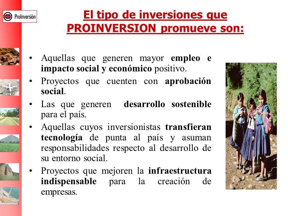 El tipo de inversiones que PROINVERSION promueve son: Aquellas que generen mayor empleo e impacto social y económico positivo. Proyectos que cuenten c