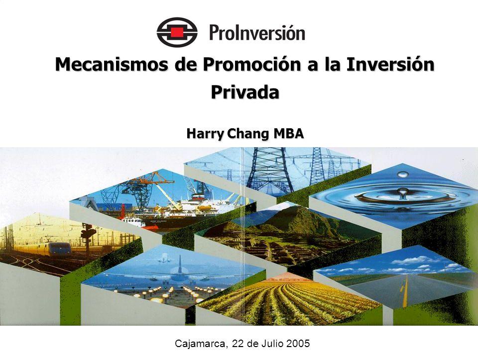 Cajamarca, 22 de Julio 2005 Mecanismos de Promoción a la Inversión Privada Harry Chang MBA