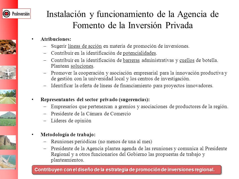 Instalación y funcionamiento de la Agencia de Fomento de la Inversión Privada Atribuciones: –Sugerir líneas de acción en materia de promoción de inver