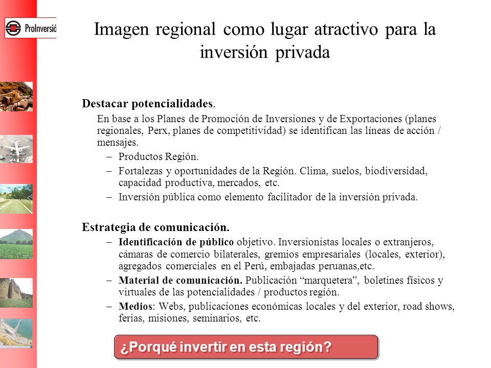 Imagen regional como lugar atractivo para la inversión privada Destacar potencialidades. En base a los Planes de Promoción de Inversiones y de Exporta