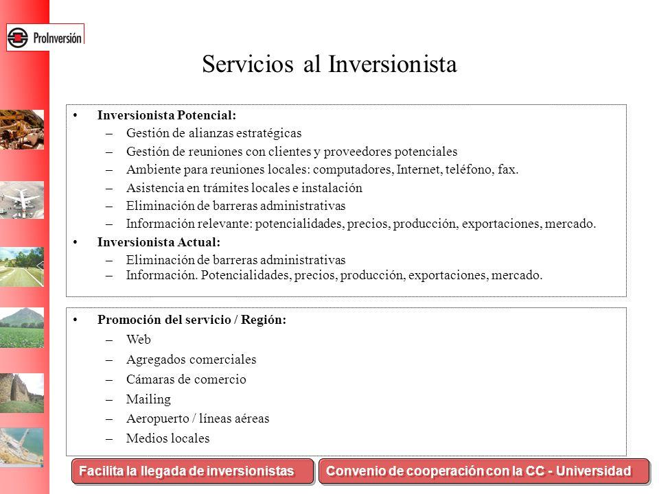 Servicios al Inversionista Inversionista Potencial: –Gestión de alianzas estratégicas –Gestión de reuniones con clientes y proveedores potenciales –Am