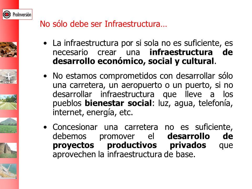 La infraestructura por si sola no es suficiente, es necesario crear una infraestructura de desarrollo económico, social y cultural. No estamos comprom