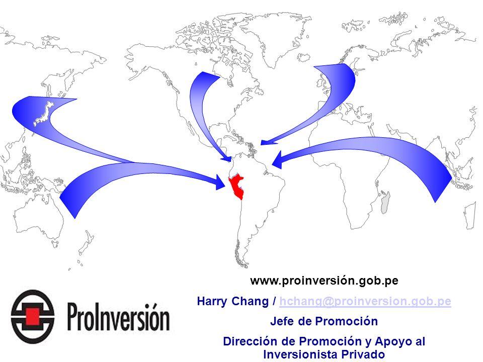 www.proinversión.gob.pe Harry Chang / hchang@proinversion.gob.pehchang@proinversion.gob.pe Jefe de Promoción Dirección de Promoción y Apoyo al Inversi