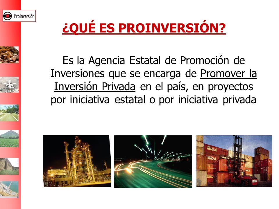 ¿QUÉ ES PROINVERSIÓN? Es la Agencia Estatal de Promoción de Inversiones que se encarga de Promover la Inversión Privada en el país, en proyectos por i