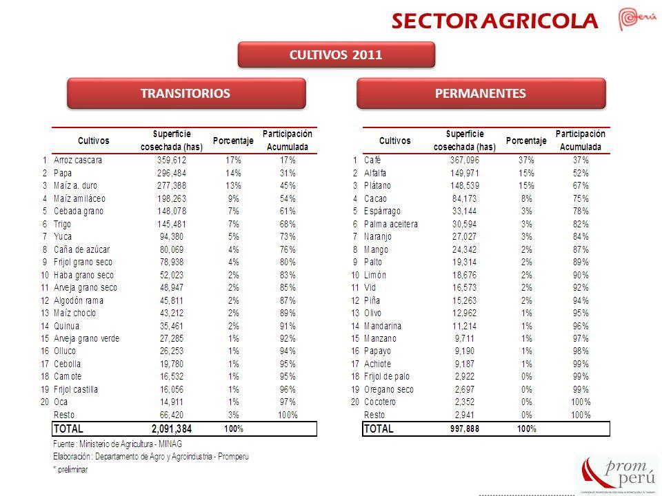 PERMANENTES TRANSITORIOS CULTIVOS 2011 SECTOR AGRICOLA