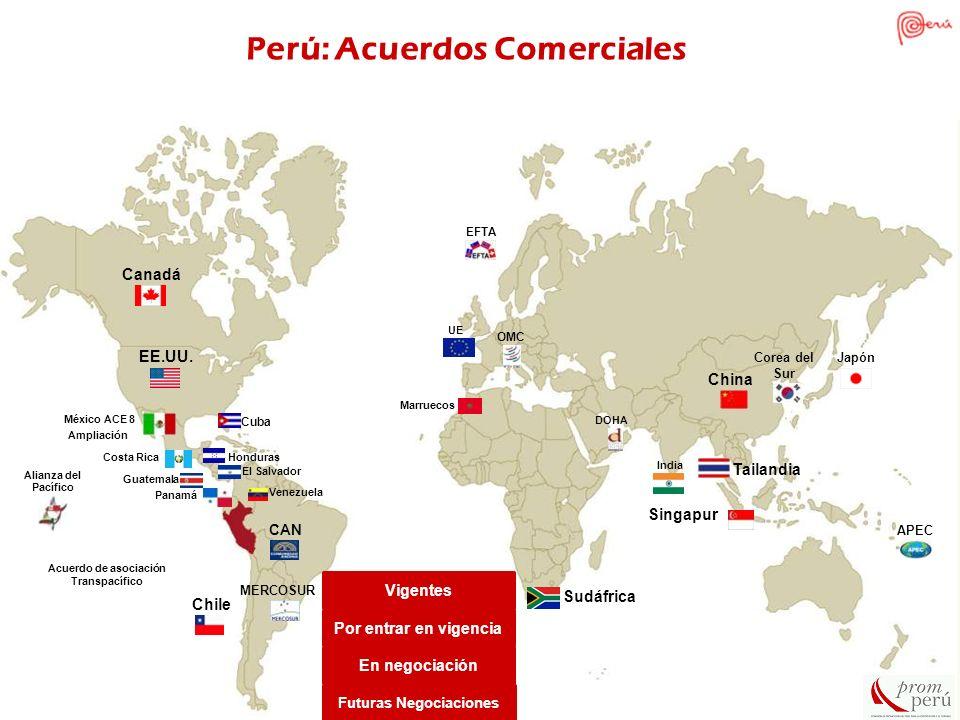 Chile Vigentes Por entrar en vigencia En negociación Futuras Negociaciones Canadá EE.UU. México ACE 8 China Singapur CAN MERCOSUR OMC Cuba APEC EFTA C