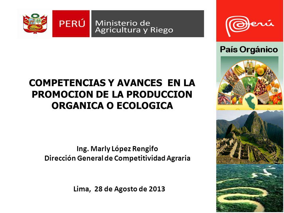 COMPETENCIAS Y AVANCES EN LA PROMOCION DE LA PRODUCCION ORGANICA O ECOLOGICA Lima, 28 de Agosto de 2013 Ing.
