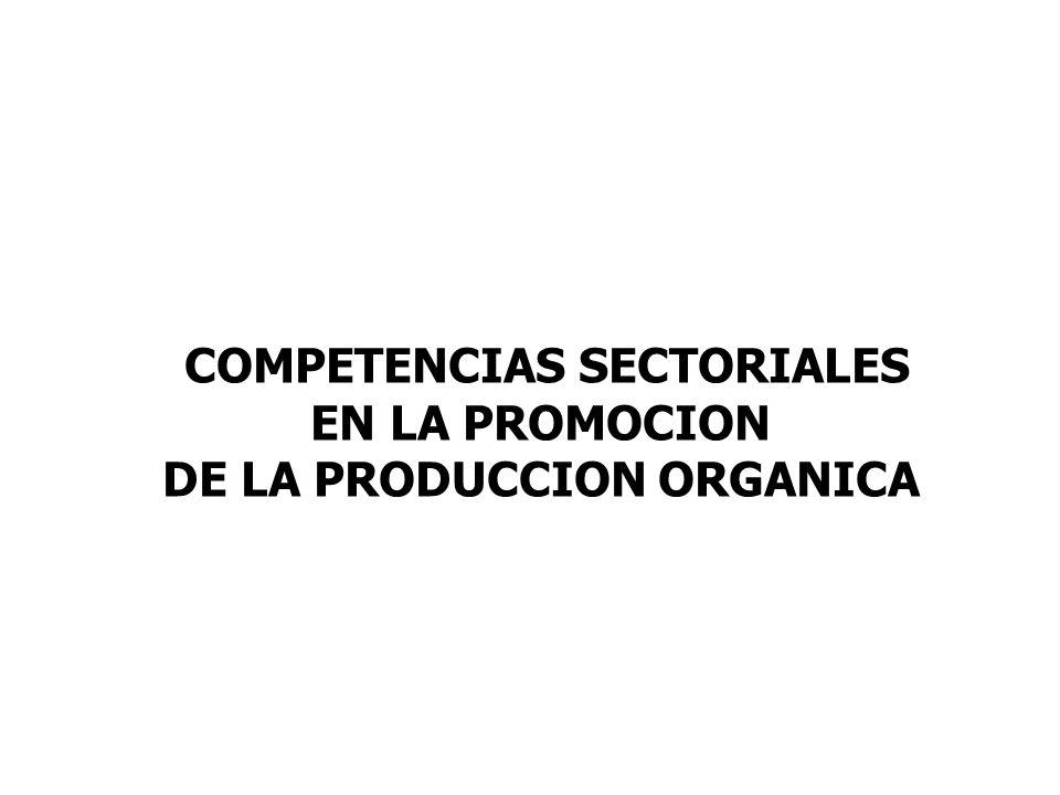 COMPETENCIAS SECTORIALES EN LA PROMOCION DE LA PRODUCCION ORGANICA