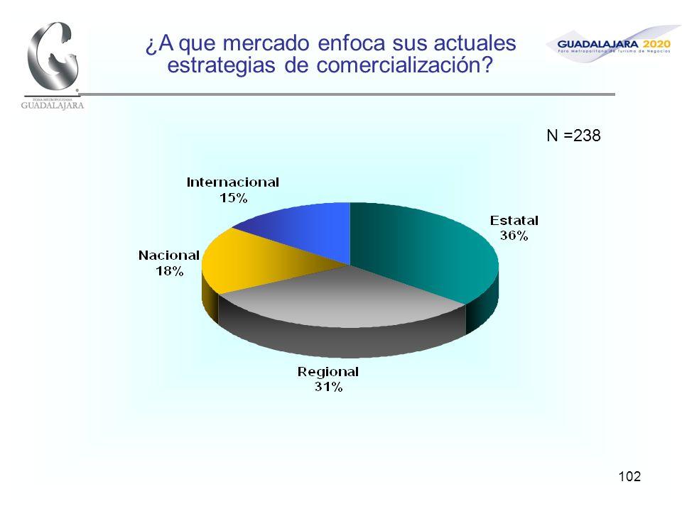 102 ¿A que mercado enfoca sus actuales estrategias de comercialización? N =238
