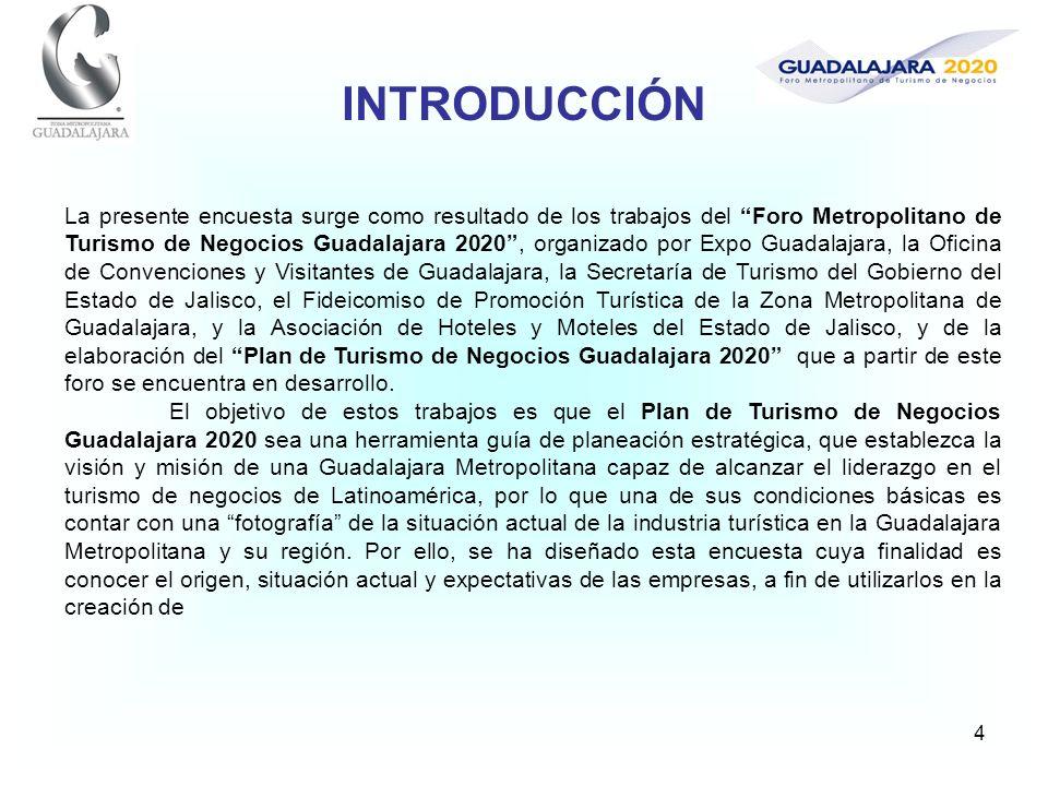 4 La presente encuesta surge como resultado de los trabajos del Foro Metropolitano de Turismo de Negocios Guadalajara 2020, organizado por Expo Guadal