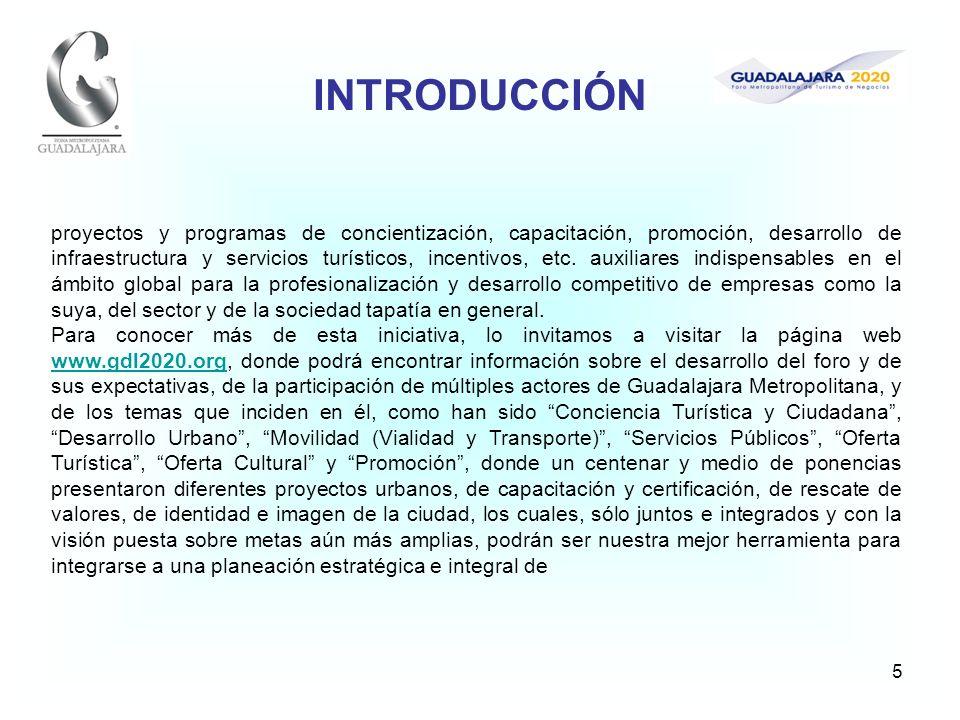 5 proyectos y programas de concientización, capacitación, promoción, desarrollo de infraestructura y servicios turísticos, incentivos, etc. auxiliares