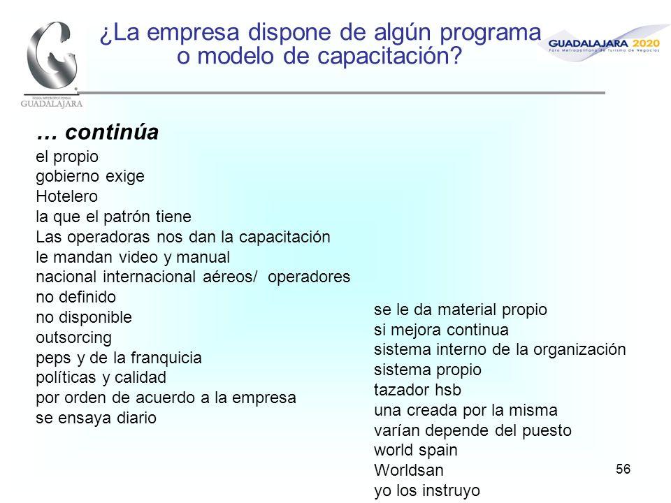 56 ¿La empresa dispone de algún programa o modelo de capacitación.