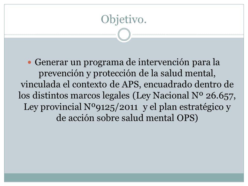 Objetivo. Generar un programa de intervención para la prevención y protección de la salud mental, vinculada el contexto de APS, encuadrado dentro de l