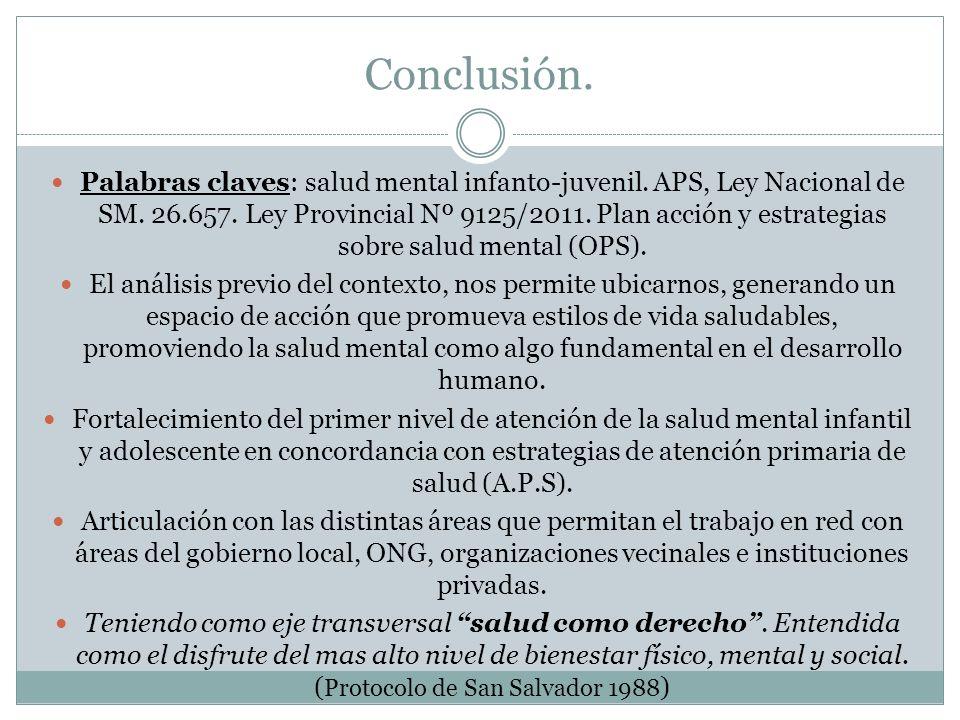 Conclusión. Palabras claves: salud mental infanto-juvenil. APS, Ley Nacional de SM. 26.657. Ley Provincial Nº 9125/2011. Plan acción y estrategias sob