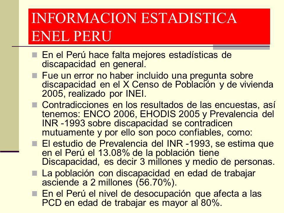 INFORMACION ESTADISTICA ENEL PERU En el Perú hace falta mejores estadísticas de discapacidad en general. Fue un error no haber incluido una pregunta s