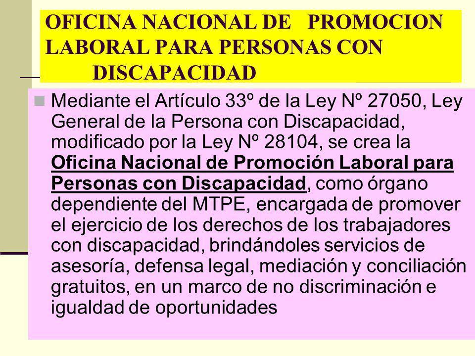 Mediante el Artículo 33º de la Ley Nº 27050, Ley General de la Persona con Discapacidad, modificado por la Ley Nº 28104, se crea la Oficina Nacional d
