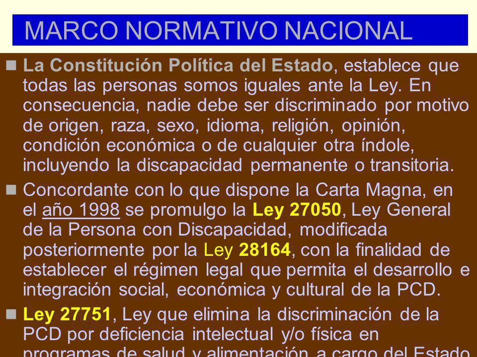 MARCO NORMATIVO NACIONAL La Constitución Política del Estado, establece que todas las personas somos iguales ante la Ley. En consecuencia, nadie debe