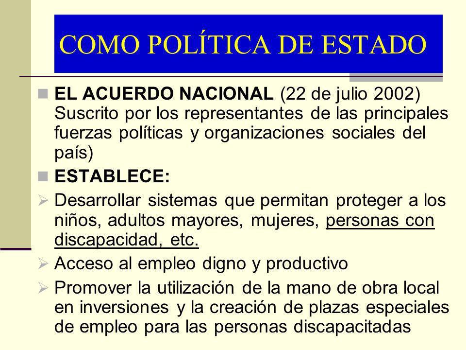 COMO POLÍTICA DE ESTADO EL ACUERDO NACIONAL (22 de julio 2002) Suscrito por los representantes de las principales fuerzas políticas y organizaciones s