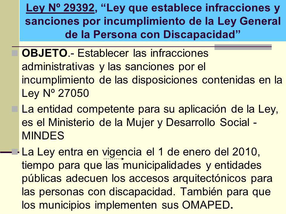 Ley Nº 29392, Ley que establece infracciones y sanciones por incumplimiento de la Ley General de la Persona con Discapacidad OBJETO.- Establecer las i