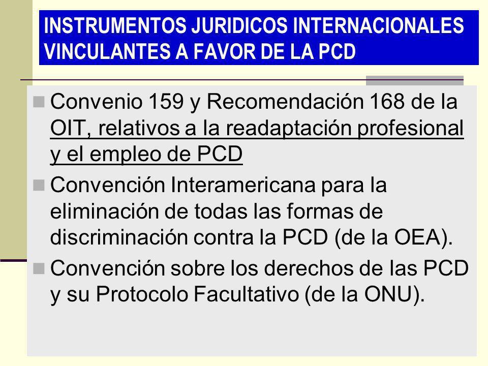 INSTRUMENTOS JURIDICOS INTERNACIONALES VINCULANTES A FAVOR DE LA PCD Convenio 159 y Recomendación 168 de la OIT, relativos a la readaptación profesion