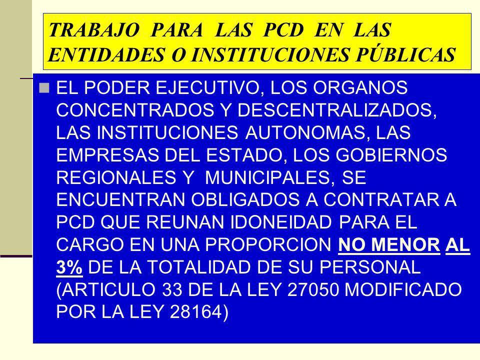 TRABAJO PARA LAS PCD EN LAS ENTIDADES O INSTITUCIONES PÚBLICAS EL PODER EJECUTIVO, LOS ORGANOS CONCENTRADOS Y DESCENTRALIZADOS, LAS INSTITUCIONES AUTO
