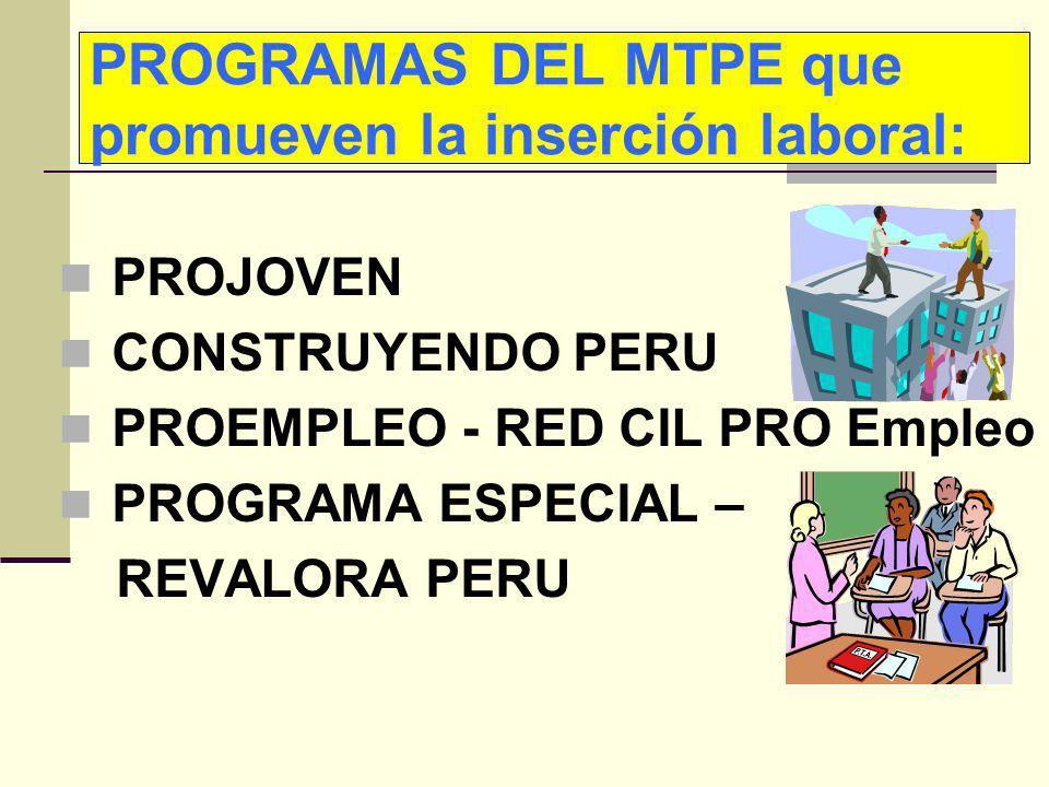 PROGRAMAS DEL MTPE que promueven la inserción laboral: PROJOVEN CONSTRUYENDO PERU PROEMPLEO - RED CIL PRO Empleo PROGRAMA ESPECIAL – REVALORA PERU