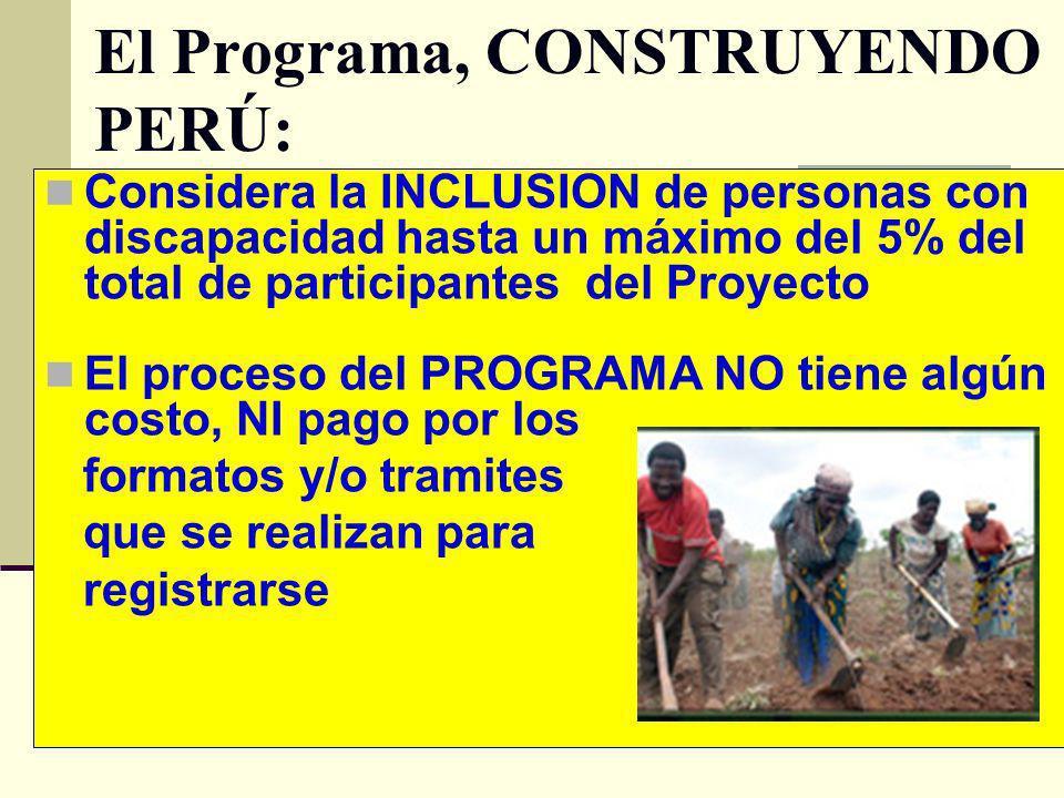 El Programa, CONSTRUYENDO PERÚ: Considera la INCLUSION de personas con discapacidad hasta un máximo del 5% del total de participantes del Proyecto El