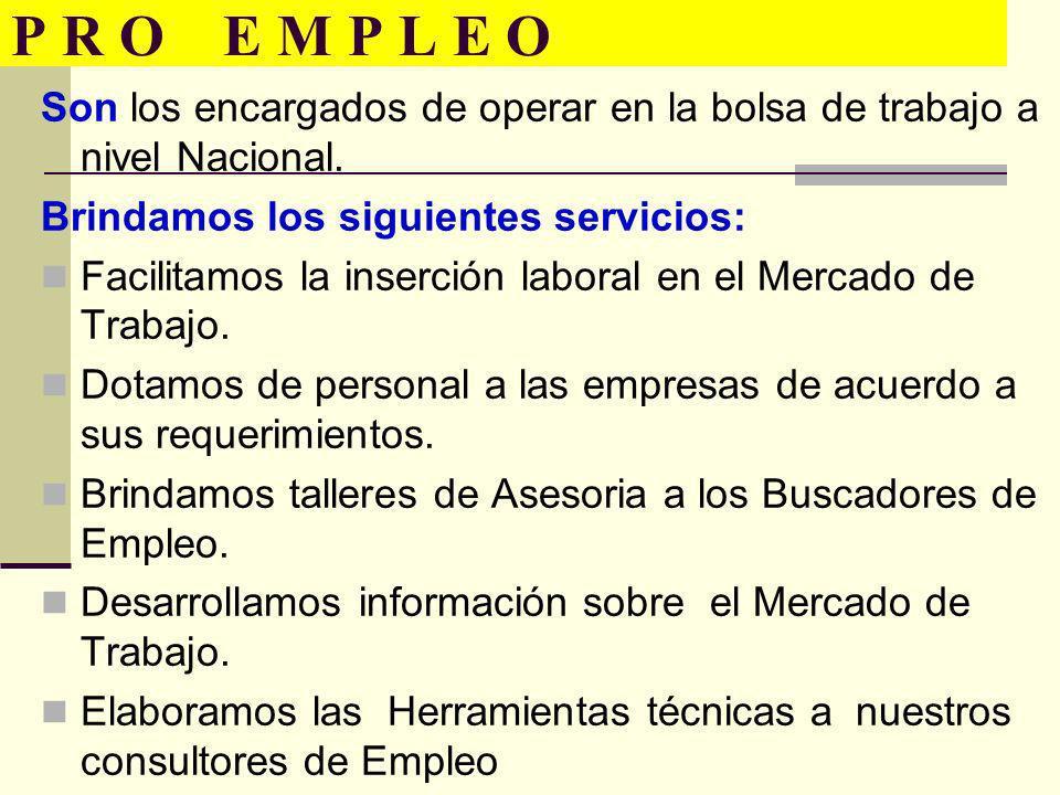 P R O E M P L E O Son los encargados de operar en la bolsa de trabajo a nivel Nacional. Brindamos los siguientes servicios: Facilitamos la inserción l