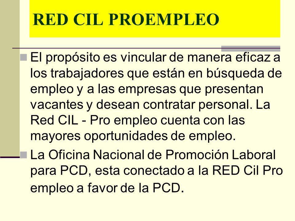 RED CIL PROEMPLEO El propósito es vincular de manera eficaz a los trabajadores que están en búsqueda de empleo y a las empresas que presentan vacantes