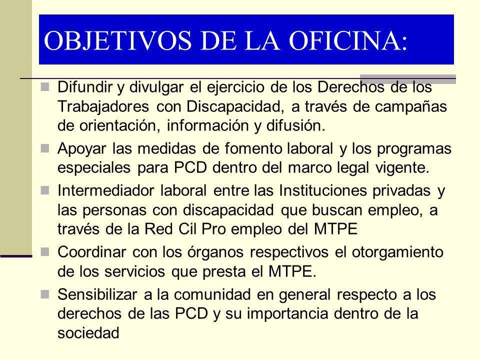 OBJETIVOS DE LA OFICINA: Difundir y divulgar el ejercicio de los Derechos de los Trabajadores con Discapacidad, a través de campañas de orientación, i