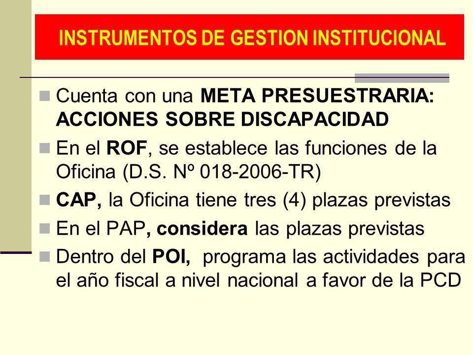 INSTRUMENTOS DE GESTION INSTITUCIONAL Cuenta con una META PRESUESTRARIA: ACCIONES SOBRE DISCAPACIDAD En el ROF, se establece las funciones de la Ofici