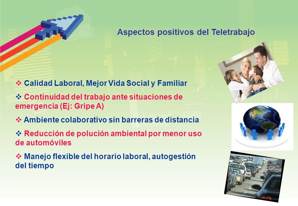 Calidad Laboral, Mejor Vida Social y Familiar Continuidad del trabajo ante situaciones de emergencia (Ej: Gripe A) Ambiente colaborativo sin barreras