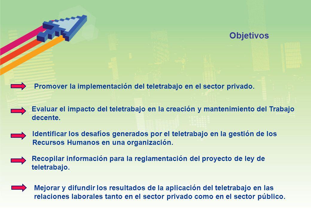 Objetivos Promover la implementación del teletrabajo en el sector privado. Evaluar el impacto del teletrabajo en la creación y mantenimiento del Traba