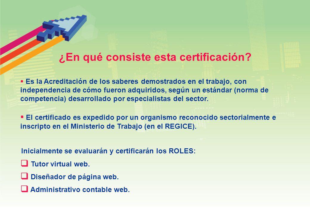 ¿En qué consiste esta certificación? Es la Acreditación de los saberes demostrados en el trabajo, con independencia de cómo fueron adquiridos, según u