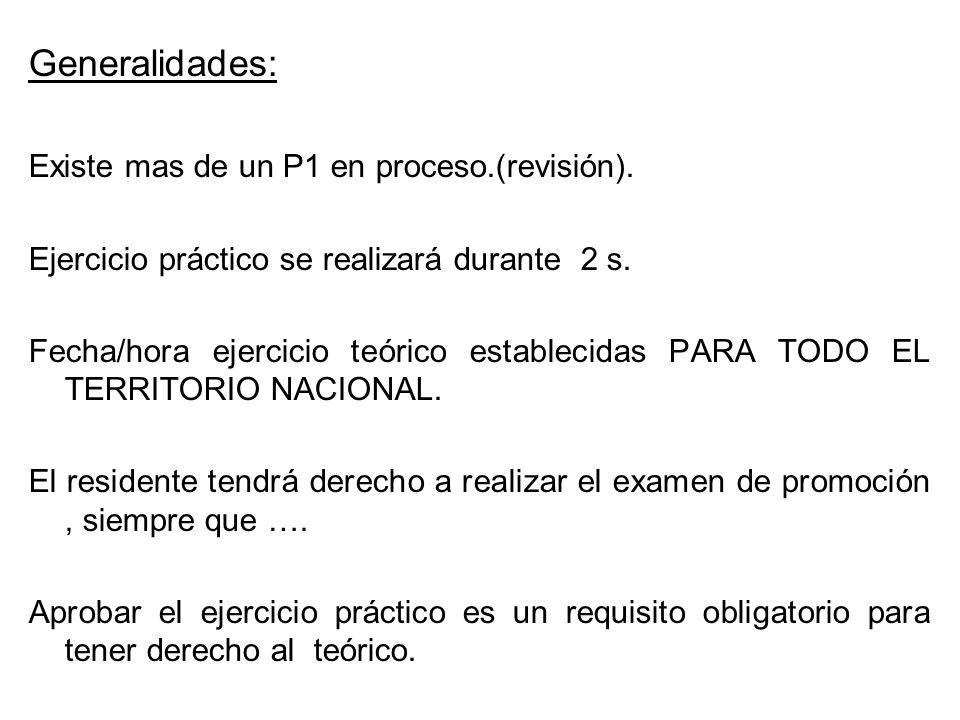 Generalidades: Existe mas de un P1 en proceso.(revisión). Ejercicio práctico se realizará durante 2 s. Fecha/hora ejercicio teórico establecidas PARA