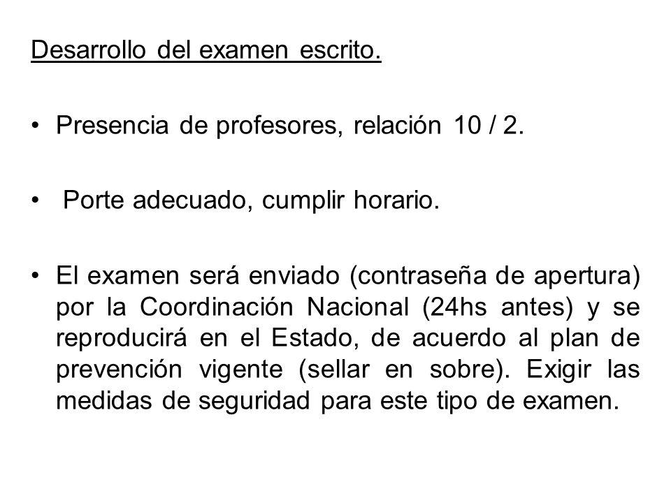 Desarrollo del examen escrito. Presencia de profesores, relación 10 / 2. Porte adecuado, cumplir horario. El examen será enviado (contraseña de apertu