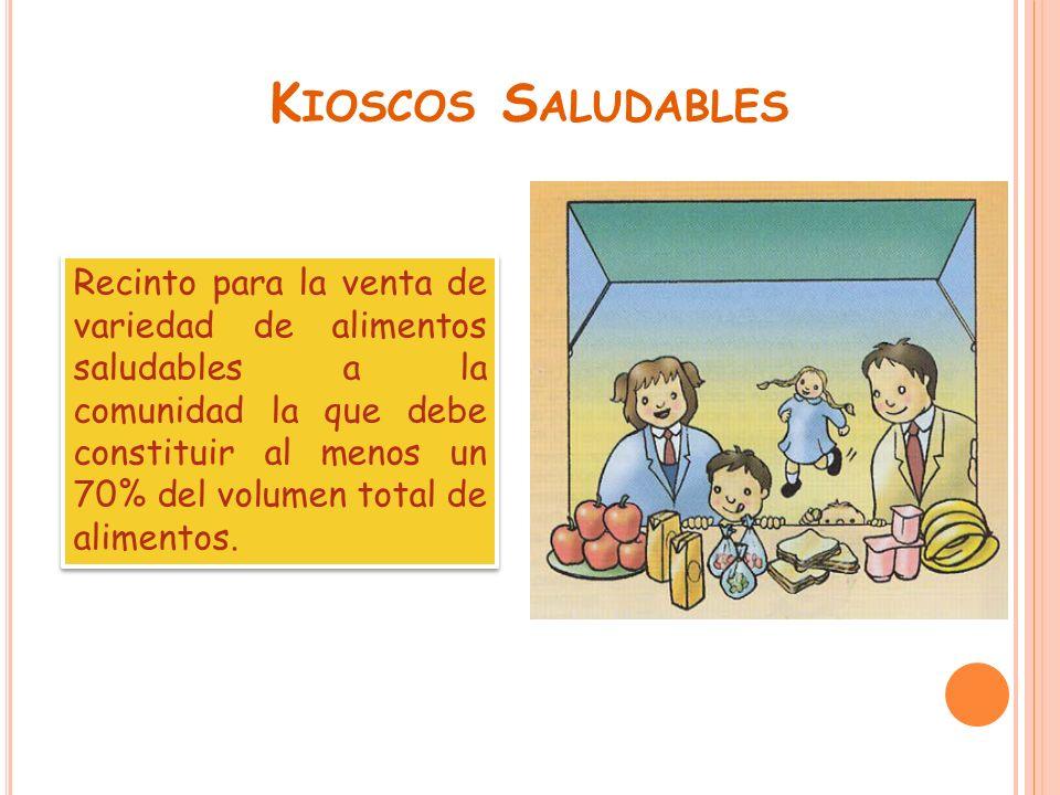 K IOSCOS S ALUDABLES Recinto para la venta de variedad de alimentos saludables a la comunidad la que debe constituir al menos un 70% del volumen total