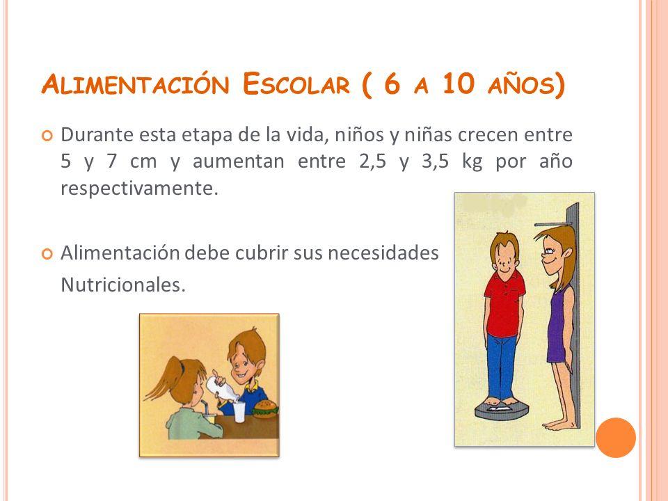 A LIMENTACIÓN E SCOLAR ( 6 A 10 AÑOS ) Durante esta etapa de la vida, niños y niñas crecen entre 5 y 7 cm y aumentan entre 2,5 y 3,5 kg por año respec
