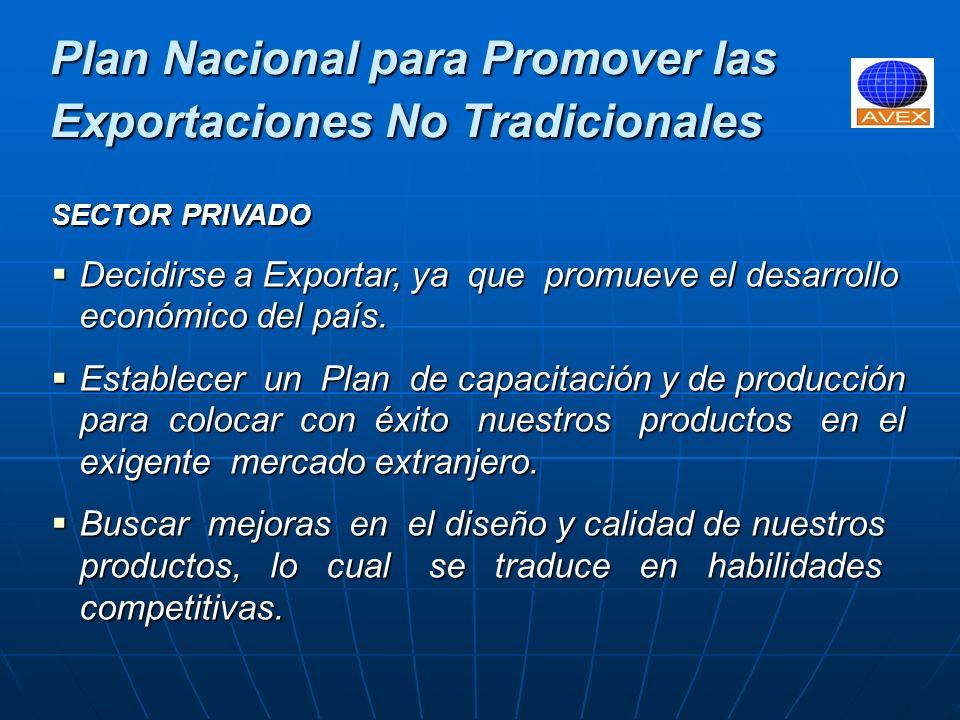 Plan Nacional para Promover las Exportaciones No Tradicionales SECTOR PRIVADO Desarrollar los Clusters de Exportación, los cuales consisten en alianzas estratégicas entre empresas del mismo sector productivo, las cuales cooperan entre si para abastecer el mercado externo, sin perder su independencia en el mercado interno.
