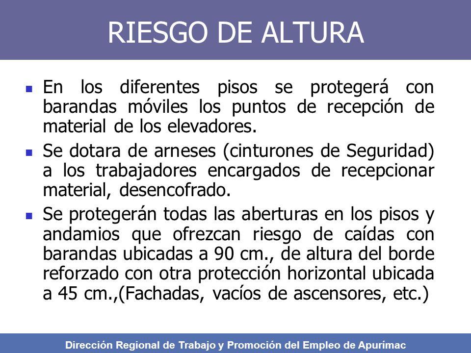 RIESGO DE ALTURA En los diferentes pisos se protegerá con barandas móviles los puntos de recepción de material de los elevadores.